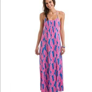 Vineyard Vines Palm Print Maxi Dress 4 EUC